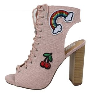 Shoes - Pink Canvas Embroidery Patch Block Heel Boot